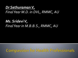 Compassion for Health Professionals