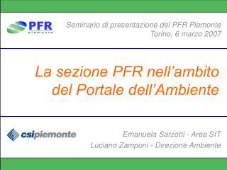 La sezione PFR nell'ambito del Portale dell'Ambiente