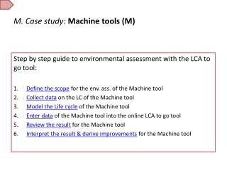 M. Case study: Machine tools (M)