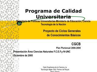 Proyecto de Ciclos Generales  de Conocimientos Básicos CGCB Plan Plurianual 2006-2008
