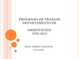 PROGRAMA DE TRABAJO DEPARTAMENTO DE  ORIENTACION AÑO 2013