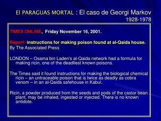 El PARAGUAS MORTAL : El caso de Georgi Markov 1928-1978