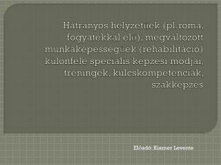 Előadó: Kiszner Levente
