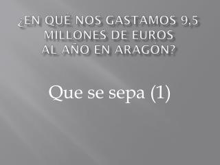 �EN  QU� NOS GASTAMOS 9,5 MILLONES DE EUROS  AL  A�O EN ARAG�N?