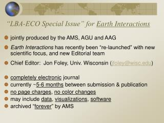 """LBA-ECO Special Issue"" for  Earth Interactions"