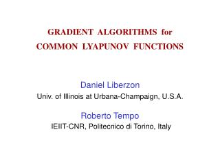 GRADIENT  ALGORITHMS  for  COMMON  LYAPUNOV  FUNCTIONS