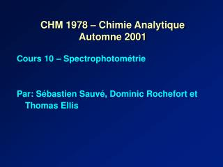 CHM 1978 – Chimie Analytique Automne 2001