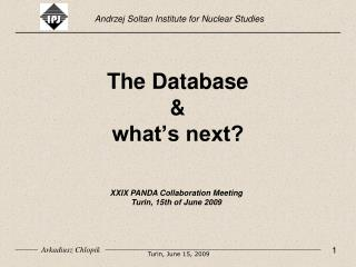 The Database & what's next?