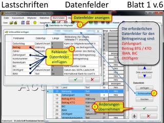 Lastschriften        Datenfelder         Blatt 1 v.6