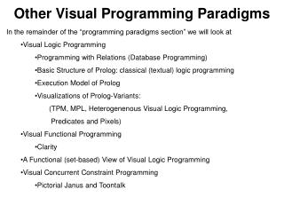 Other Visual Programming Paradigms