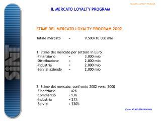 STIME DEL MERCATO LOYALTY PROGRAM 2002 Totale mercato=9.500/10.000 mio