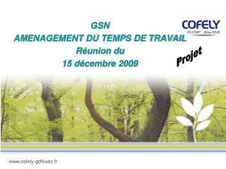 GSN  AMENAGEMENT DU TEMPS DE TRAVAIL Réunion du 15 décembre 2009