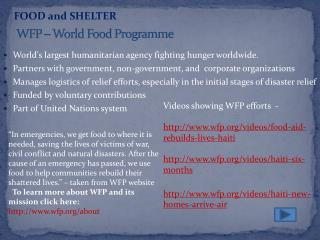 WFP – World Food  Programme