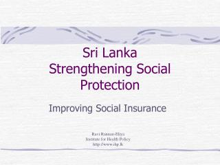 Sri Lanka Strengthening Social Protection