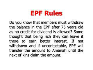 EPF Rules