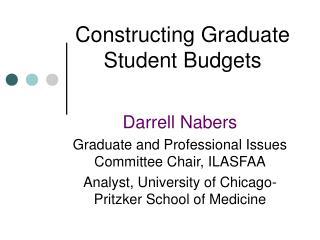 Constructing Graduate Student Budgets