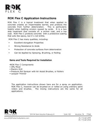 ROK Flex C Application  Instructions