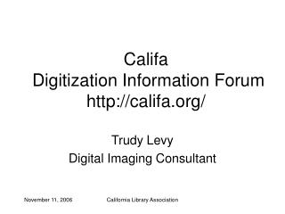 Califa  Digitization Information Forum califa/