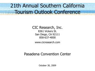 21th Annual Southern California Tourism Outlook Conference