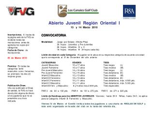 Abierto  Juvenil  Región  Oriental  I 13   y  14  Marzo  2010