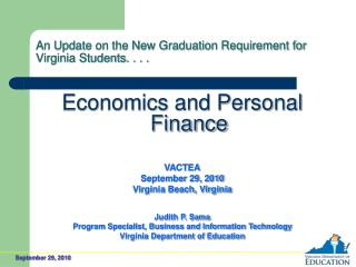 An Update on the New Graduation Requirement for Virginia Students. . . .