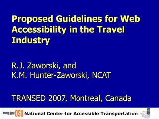 Proposed Guidelines for Web Accessibility in the Travel Industry