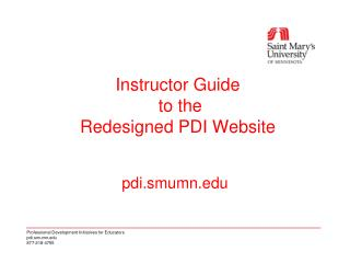 Instructor Guide  to the Redesigned PDI Website