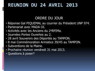 REUNION DU 24 AVRIL 2013