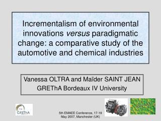 Vanessa OLTRA and Maïder SAINT JEAN GREThA Bordeaux IV University