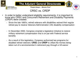 CRSC vs. CRDP