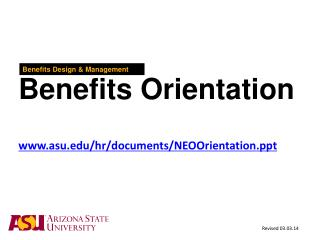 Arizona State University   Benefits Orientation Benefits Design  Management      asu