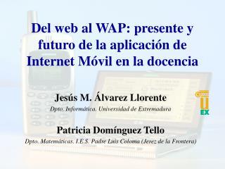 Del web al WAP: presente y futuro de la aplicación de Internet Móvil en la docencia