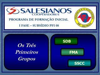 PROGRAMA DE FORMAÇÃO INICIAL  I FASE – SUBSÍDIO PFI 08