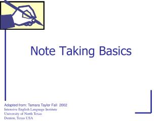 Note Taking Basics