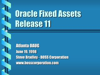 Oracle Fixed Assets Release 11