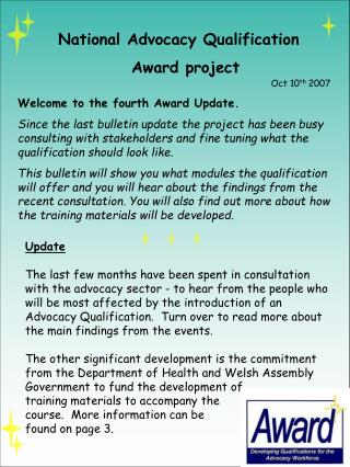 National Advocacy Qualification Award project