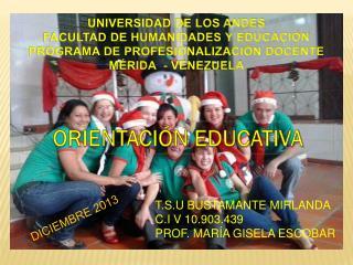 UNIVERSIDAD DE LOS ANDES FACULTAD DE HUMANIDADES Y EDUCACI�N