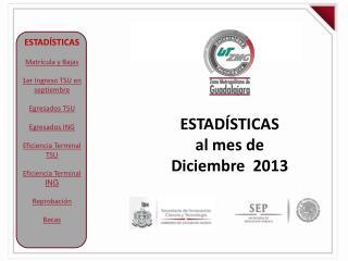 ESTADÍSTICAS al mes de  Diciembre  2013