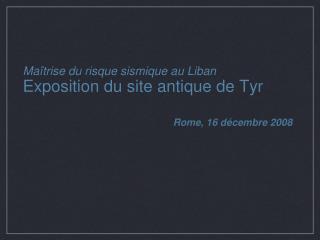 Maîtrise du risque sismique au Liban Exposition du site antique de Tyr