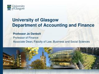 University of Glasgow Department of Accounting and Finance