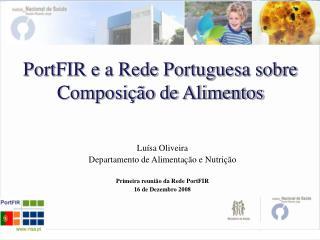 PortFIR e a Rede Portuguesa sobre Composição de Alimentos