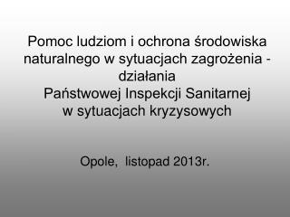 Opole,  listopad 2013r.