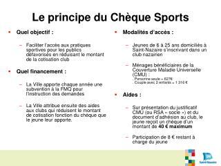 Le principe du Chèque Sports