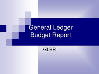 General Ledger  Budget Report