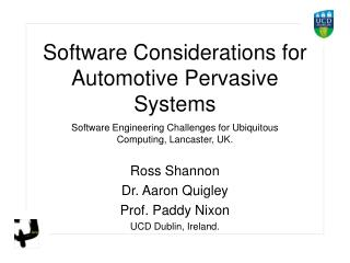PPT Software Considerations for Automotive Pervasive Systems