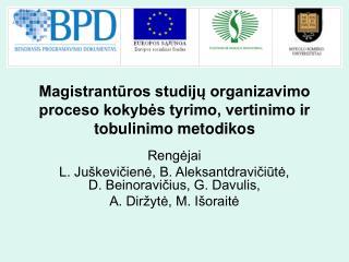 Magistrantūros studijų organizavimo proceso kokybės tyrimo, vertinimo ir tobulinimo metodikos