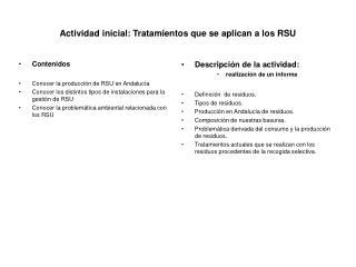 Actividad inicial: Tratamientos que se aplican a los RSU