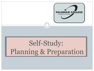 Self-Study:  Planning & Preparation