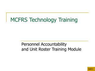MCFRS Technology Training