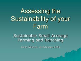 Assessing the Sustainability of your Farm
